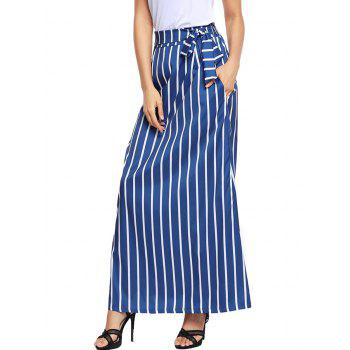 Striped Pockets Maxi Skirt