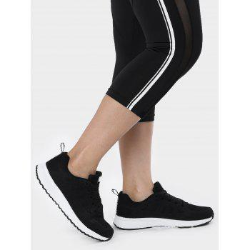 Mesh Eyelet Embroidery Athletic Shoes - BLACK 37