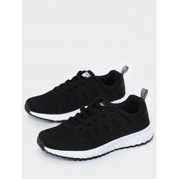 Mesh Eyelet Embroidery Athletic Shoes - BLACK BLACK