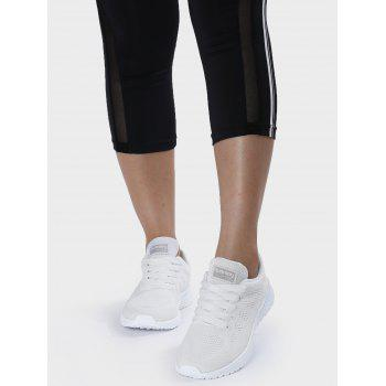 Mesh Eyelet Embroidery Athletic Shoes - 40 40