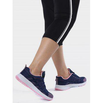Mesh Eyelet Embroidery Athletic Shoes - DEEP BLUE 38