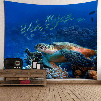 Turtle Ocean Fish Wall Tapestry - BLUE W79 INCH * L71 INCH