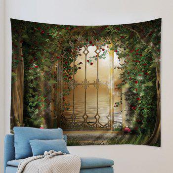 Wall Hanging Art Floral Door Lake Print Tapestry - GREEN GREEN