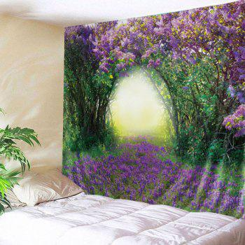 Wall Hanging Art Floral Tree Print Tapestry - GREEN W91 INCH * L71 INCH
