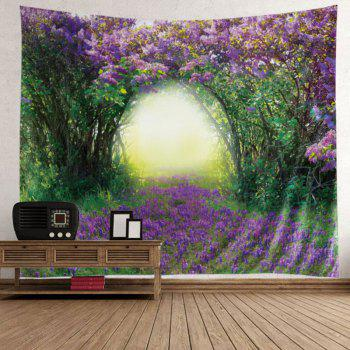 Wall Hanging Art Floral Tree Print Tapestry - GREEN GREEN