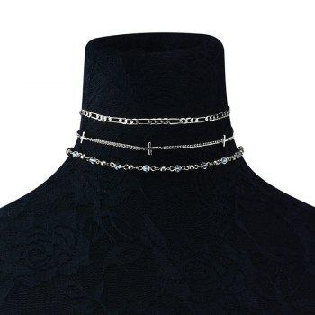 Artificial Crystal Beaded Cross Necklace Set - SILVER