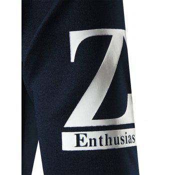 Z Print Crew Neck Sweatshirt - Cadetblue M