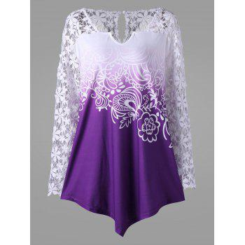 Plus Size Lace Yoke Ombre Top