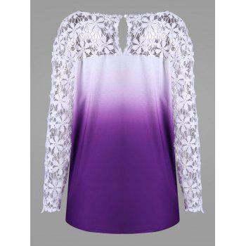 Plus Size Lace Yoke Ombre Top - PURPLE 2XL