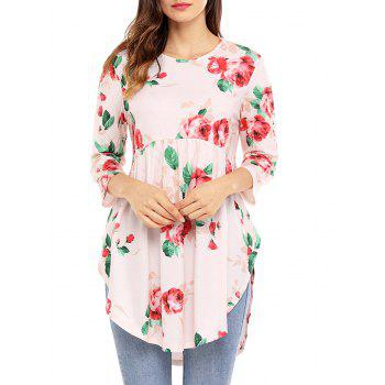 Floral Print Tunic Top - PINK M