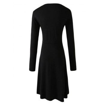 Long Sleeve Flare High Low Dress - 2XL 2XL