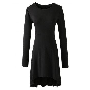 Long Sleeve Flare High Low Dress - BLACK BLACK