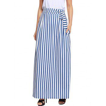 Striped Pockets Maxi Skirt - WHITE L