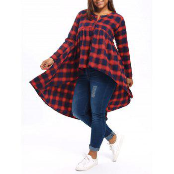 Plus Size High Low Tartan Poncho Blouse