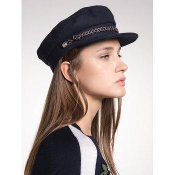 Woolen Blend Woven Rope Embellished Peaked Hat - BLACK BLACK