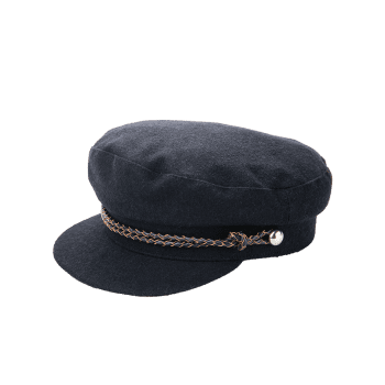 Woolen Blend Woven Rope Embellished Peaked Hat -  BLACK