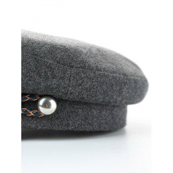 Woolen Blend Woven Rope Embellished Peaked Hat - GRAY