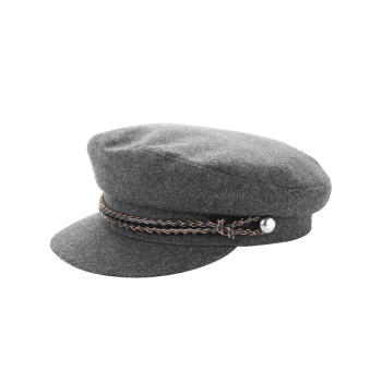 Woolen Blend Woven Rope Embellished Peaked Hat - GRAY GRAY