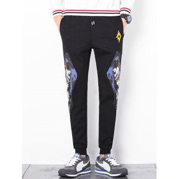 Printed Drawstring Waist Jogger Pants - BLACK 5XL