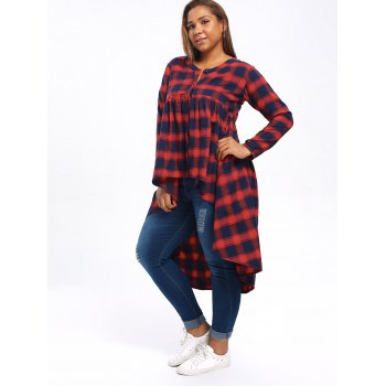 Plus Size High Low Tartan Poncho Blouse - COLORMIX 5XL