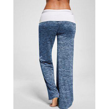 Foldover Heather Wide Leg Pants - BLUE GRAY BLUE GRAY