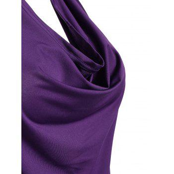 Open Back Halter Tank Top - PURPLE PURPLE