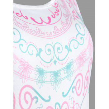 Racerback Printed Tank Top - WHITE M