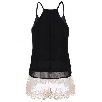 Laced Chiffon Cami Top - BLACK BLACK