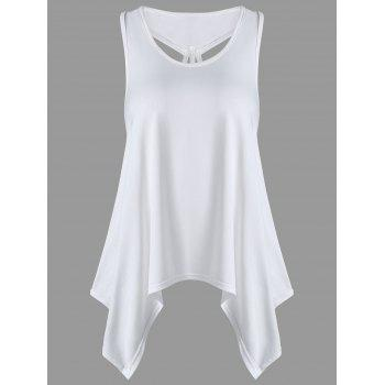 U Neck Strappy Asymmetrical Tank Top - WHITE WHITE