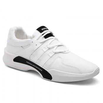 Suede Insert Tie Up Breathable Athletic Shoes - WHITE WHITE