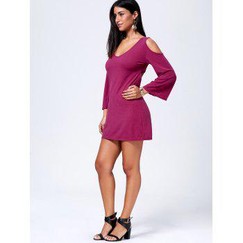 Sexy Women's V-Neck Open Back Long Sleeve Dress - RED XL