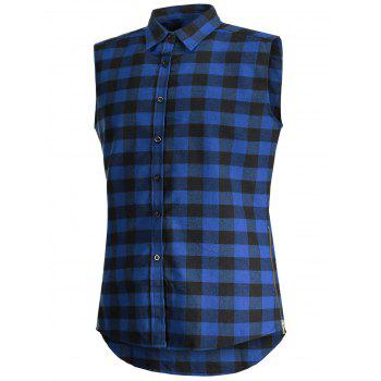 Checked Twill Sleeveless Shirt - BLUE BLUE