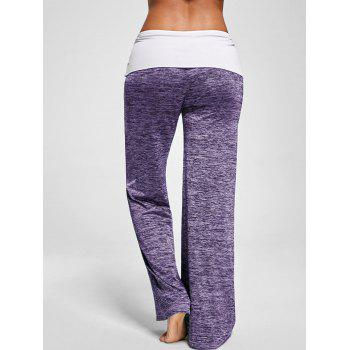 Foldover Heather Wide Leg Pants - PURPLE PURPLE