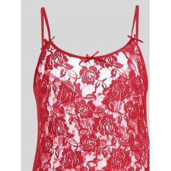 Plus Size Lace Ruffle Slip Dress - RED 4XL