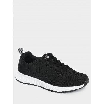 Mesh Eyelet Embroidery Athletic Shoes - BLACK 40