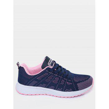 Mesh Eyelet Embroidery Athletic Shoes - DEEP BLUE 37