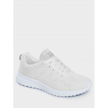 Mesh Eyelet Embroidery Athletic Shoes - WHITE WHITE