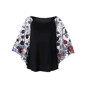 Embroidery Sheer Batwing Sleeve Blouse - BLACK M