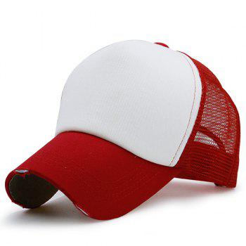 Broken Hole Baseball Cap with Mesh Spliced - RED RED