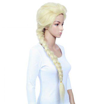 Long Straight Braided Frozen Snow Queen Elsa Cosplay Anime Wig - YELLOW
