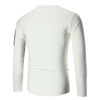 Zip Shoulder Stretch Long Sleeve T-shirt - WHITE XL