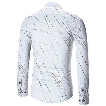 Turn-down Collar Print Long Sleeve Shirt - WHITE 3XL