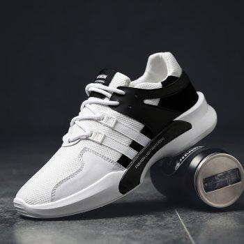 Suede Insert Tie Up Breathable Athletic Shoes - BLACK WHITE BLACK WHITE