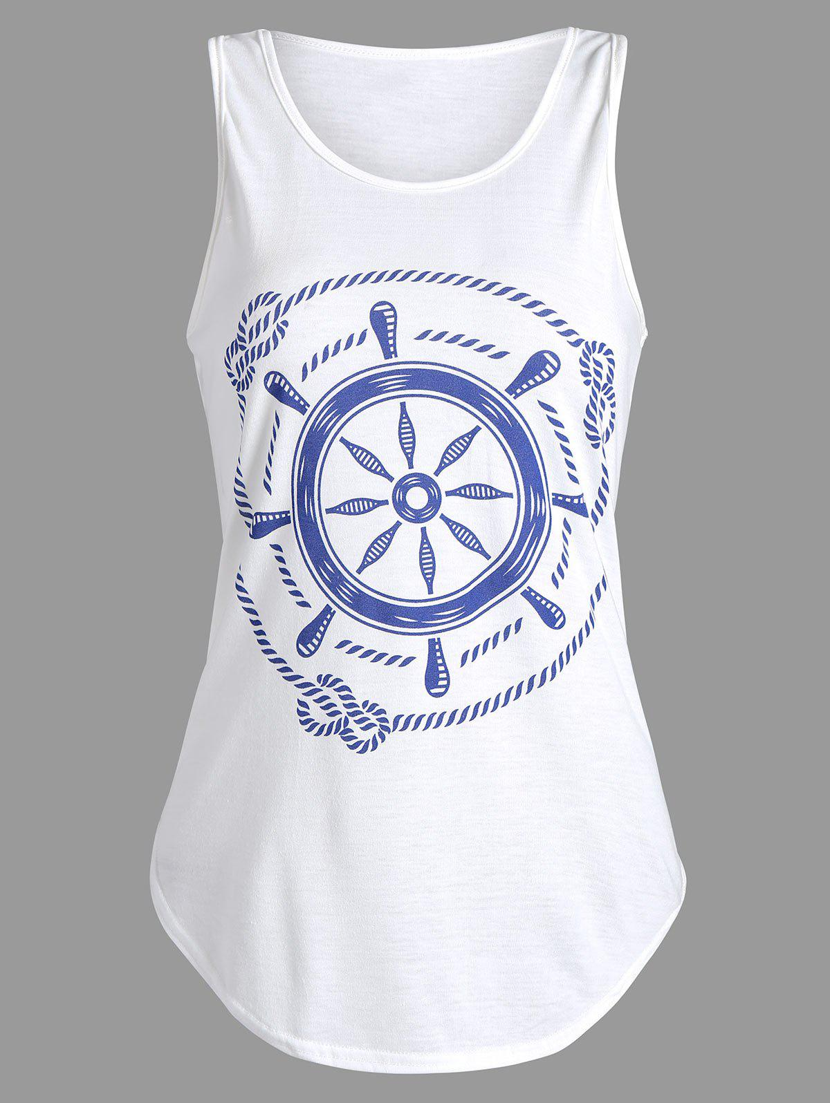 Printed Racerback Tank Top - WHITE M