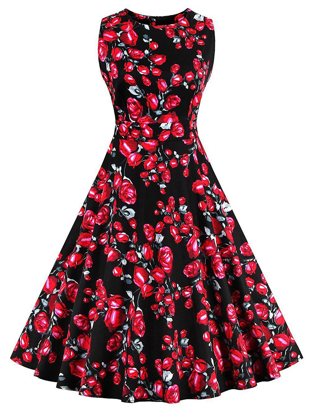 Vintage Floral Print Skater Party Dress - BLACK 2XL