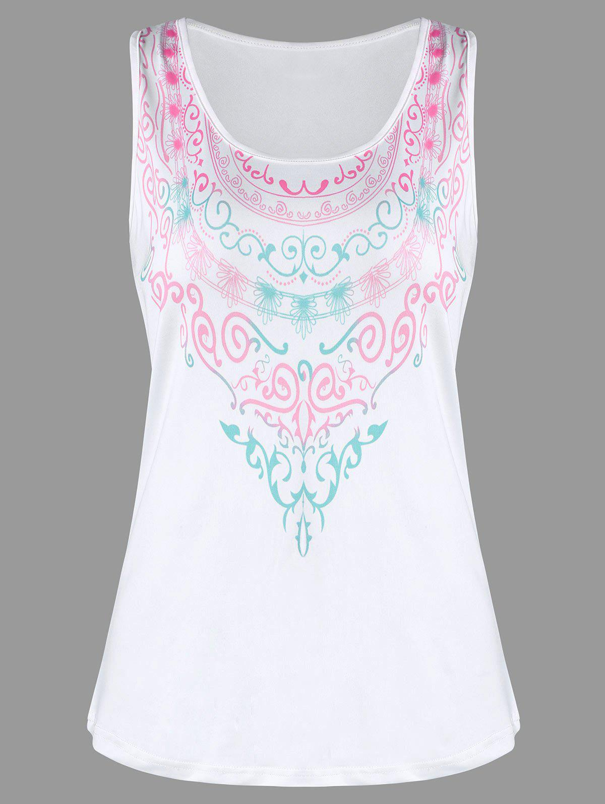 Racerback Printed Tank Top - WHITE XL
