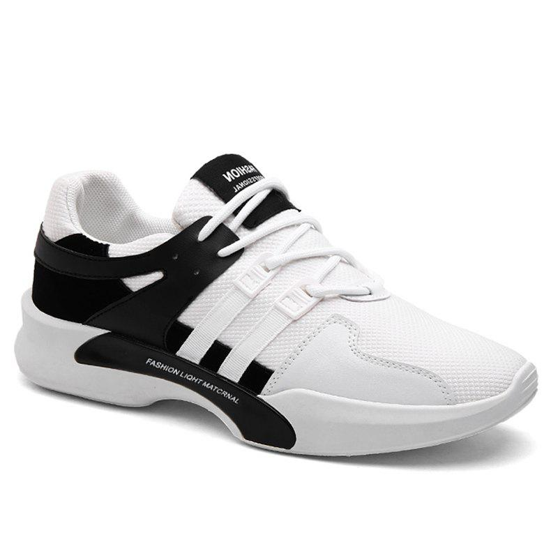 Suede Insert Tie Up Breathable Athletic Shoes - BLACK WHITE 44