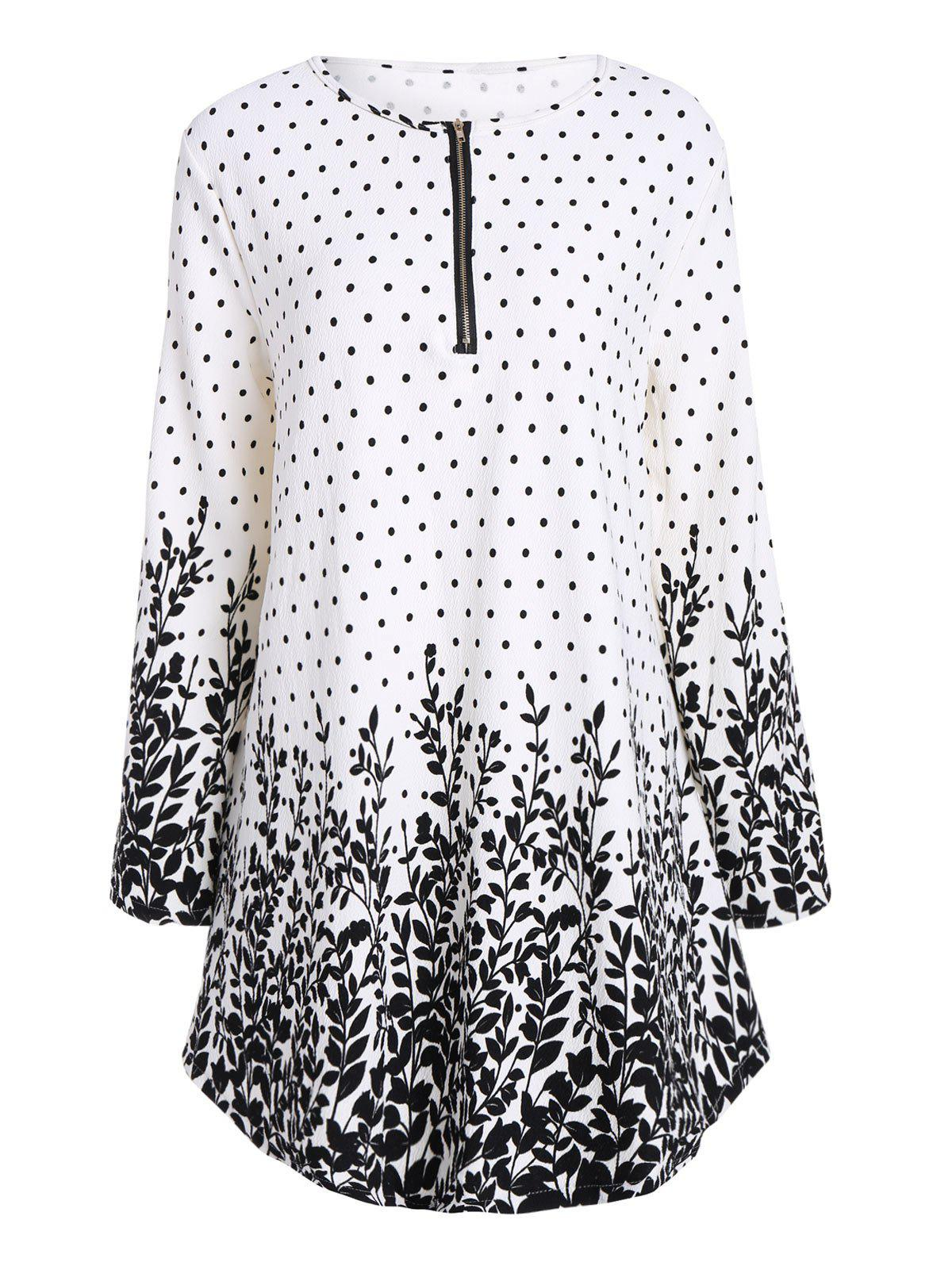 Polka Dot Floral Plus Size Half Zip Long Sleeve Top - WHITE 5XL