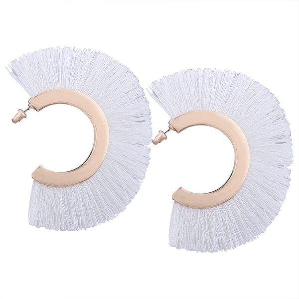 Statement Hoop Tassel Earrings - WHITE