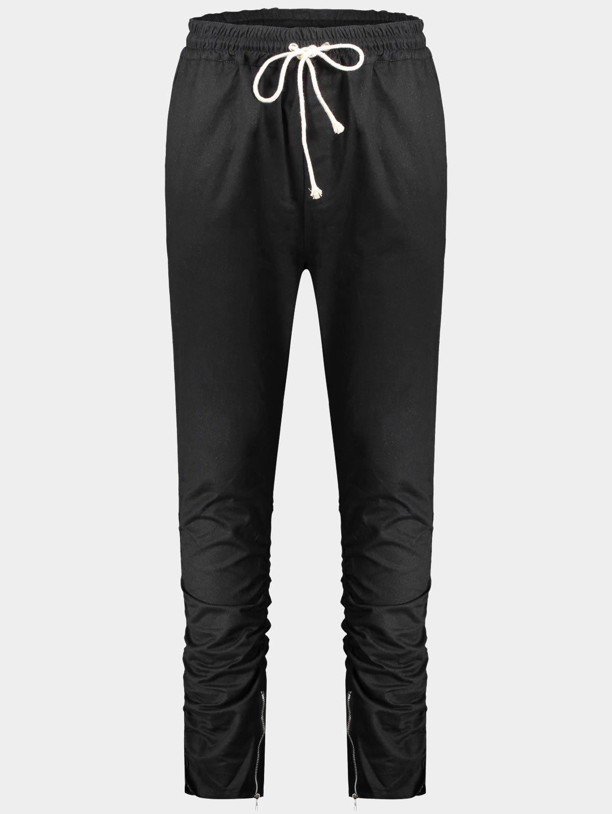 Slim Fit Twill Pants - BLACK L